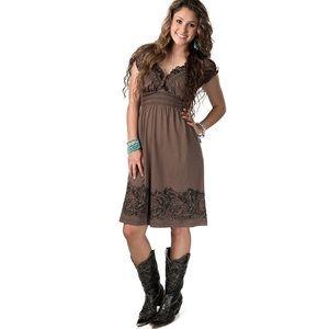 Rock & Roll Cowgirl Brown Babydoll Dress